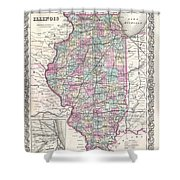 1855 Colton Map Of Illinois Shower Curtain
