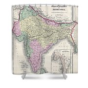 1855 Colton Map Of India Or Hindostan Shower Curtain