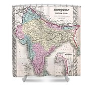 1855 Colton Map Of India Shower Curtain