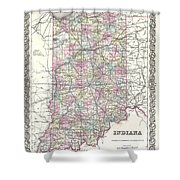 1855 Colton Map Of Indiana Shower Curtain