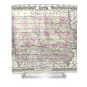 1855 Colton Map Of Iowa Shower Curtain