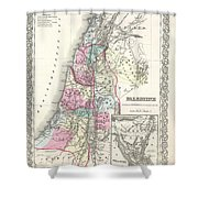 1855 Colton Map Of Israel Palestine Or The Holy Land Shower Curtain