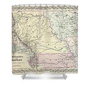 1855 Colton Map Of Kansas And Nebraska  Shower Curtain