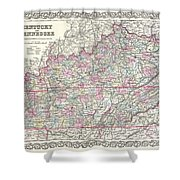 1855 Colton Map Of Kentucky And Tennessee Shower Curtain