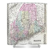 1855 Colton Map Of Maine Shower Curtain