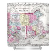 1855 Colton Map Of Massachusetts And Rhode Island Shower Curtain