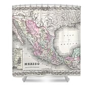 1855 Colton Map Of Mexico - Geographicus1855 Colton Map Of Mexico - Geographicus Shower Curtain