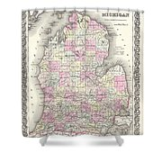 1855 Colton Map Of Michigan Shower Curtain