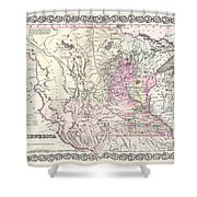 1855 Colton Map Of Minnesota Shower Curtain