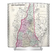 1855 Colton Map Of New Hampshire Shower Curtain