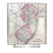 1855 Colton Map Of New Jersey Shower Curtain