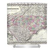 1855 Colton Map Of North Carolina Shower Curtain