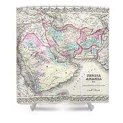 1855 Colton Map Of Persia Afghanistan And Arabia Shower Curtain