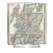 1855 Colton Map Of Scotland Shower Curtain