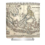1855 Colton Map Of The East Indies Singapore Thailand Borneo Malaysia Shower Curtain