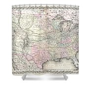 1855 Colton Map Of The United States  Shower Curtain