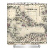 1855 Colton Map Of The West Indies Shower Curtain