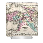 1855 Colton Map Of Turkey Iraq And Syria Shower Curtain