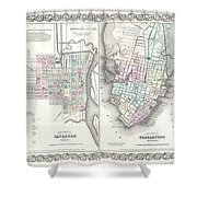 1855 Colton Plan Or Map Of Charleston South Carolina And Savannah Georgia Shower Curtain