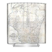 1856 Chapman Pocket Map Of Wisconsin Shower Curtain
