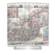 1856 Colton Pocket Map Of New England And New York Shower Curtain
