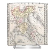 1856 Desilver Map Of Northern Italy Shower Curtain