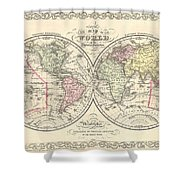 1856 Desilver Map Of The World  Shower Curtain
