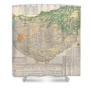 1856 Japanese Edo Period Woodblock Map Of Musashi Kuni Tokyo Or Edo Province Shower Curtain