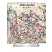 1857 Colton Map Of Canada And Alaska Shower Curtain