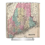 1857 Colton Map Of Maine Shower Curtain