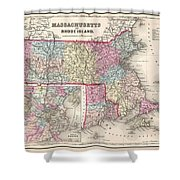 1857 Colton Map Of Massachusetts And Rhode Island Shower Curtain