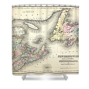 1857 Colton Map Of New Brunswick And Newfoundland Canada Shower Curtain