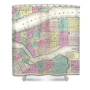 1857 Colton Map Of New York City Shower Curtain