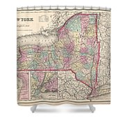 1857 Colton Map Of New York Shower Curtain