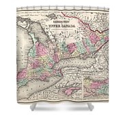 1857 Colton Map Of Ontario Canada Shower Curtain