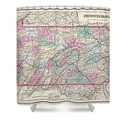 1857 Colton Map Of Pennsylvania Shower Curtain