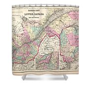 1857 Colton Map Of Quebec And New Brunswick Canada Shower Curtain
