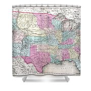 1857 Colton Map Of The United States  Shower Curtain
