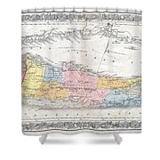 1857 Colton Travellers Map Of Long Island New York Shower Curtain