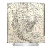 1857 Dufour Map Of North America Shower Curtain