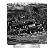 1862 Gov. Stanford First Locomotive Black And White Shower Curtain
