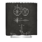 1866 Velocipede Bicycle Patent Artwork - Gray Shower Curtain by Nikki Marie Smith