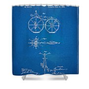 1866 Velocipede Bicycle Patent Blueprint Shower Curtain by Nikki Marie Smith