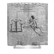 1869 Life Preserver Patent Charcoal Shower Curtain