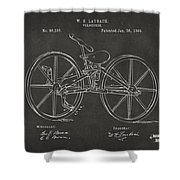 1869 Velocipede Bicycle Patent Artwork - Gray Shower Curtain by Nikki Marie Smith