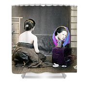 1870 Japanese Woman In Her Dressing Room Shower Curtain