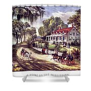 1870s 1800s A Home On The Mississippi - Shower Curtain