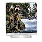 1870s Brook Trout Fishing - Currier & Shower Curtain