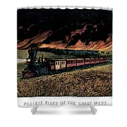1870s Prairie Fires Of The Great West - Shower Curtain