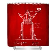 1873 Coffee Mills Patent Artwork Red Shower Curtain